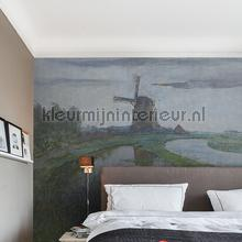 Mill in the moonlight fotobehang Dutch Wallcoverings Kunst Ambiance