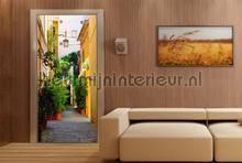 Steegje met groene planten fotobehang AG Design Steden Gebouwen