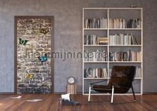 Stenen muur en vlinders fotobehang AG Design kinderkamer meisjes