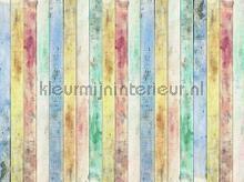 Gekleurde planken fotomurales AG Design Sol Mar Playa