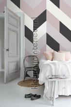 Groot visgraat dessin fotobehang Esta home Grafisch Abstract