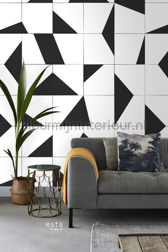 Tegelmotief zwart wit photomural 152-158908 Graphic - Abstract Esta home
