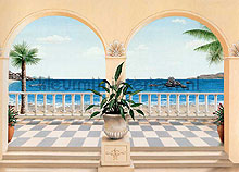 Terrasse Provencale fotobehang Ideal Decor Oosters Trompe loeil