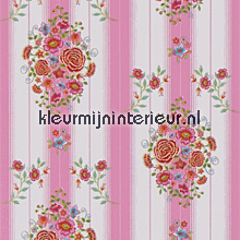 pip embroidery pink wallcovering Eijffinger PiP Wallpaper 386105