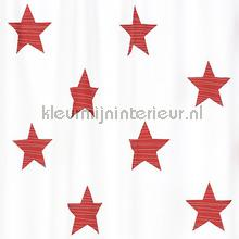 Big Stars red curtains Rasch stripes