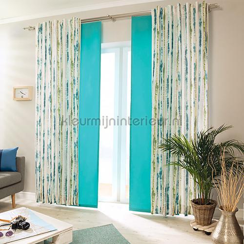 Canvas Blauw Mosgroen curtains 4332-23 teenager Indes
