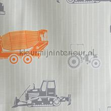 Tractor oranje grijs curtains AS Creation ready made