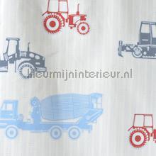 Tractor streep blauw rood gordijnstof cortinas AS Creation niños