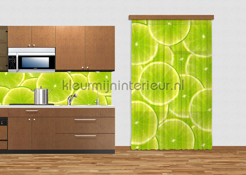 Green limes gordijnen FCS L 7515 Keuken Kleurmijninterieur