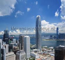 View over skyskrapers curtains Kleurmijninterieur cities
