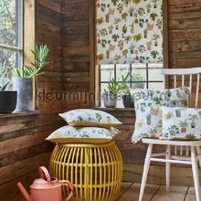 Pot plants coral gordijnen Prestigious Textiles retro