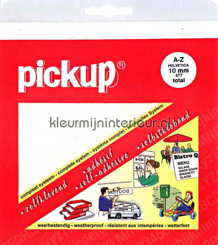 Letterset, Helvetica, 10mm, Wit decoration stickers 12010010 numbers and letters set Pick-up