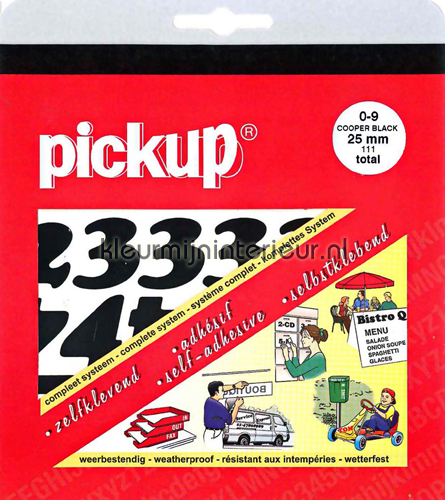 Cijferset, Cooper Black, 25mm, Zwart wallstickers 12101025 tal og bogstaver Pick-up