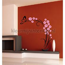 Lignum zwart en lichtroze decoration stickers Coart Coart Wall Sticker DP-300-109