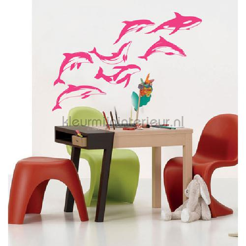 Dolphins roze decoration stickers DP-657-108 underwater world Coart
