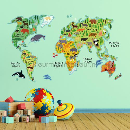 Wereldkaart Muursticker Kids decoration stickers 18301 Crearreda collection Imagicom