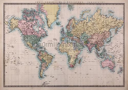 Wereldkaart Muursticker Vintage wallstickers 44211 abstrakte moderne Imagicom