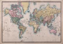 Wereldkaart Muursticker Vintage vinilo decorativo Imagicom Crearreda collectie 44211
