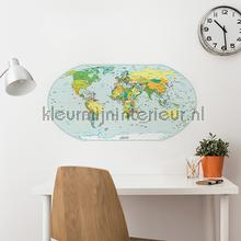 Wereldkaart Muursticker Kleur decoration stickers Imagicom window stickers
