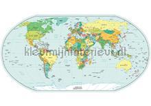 Wereldkaart Muursticker Kleur vinilo decorativo Imagicom Crearreda collectie 44213