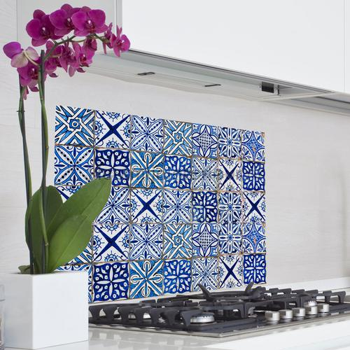 Azulejos keukenwand sticker blauw wallstickers 67215 abstrakte moderne Crearreda