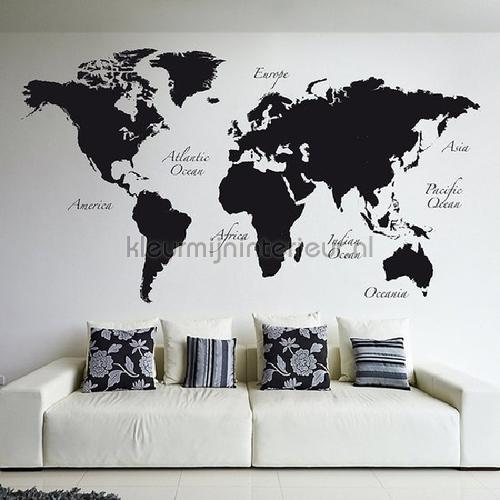 Wereldkaart Muursticker Zwart XXL wallstickers 81105 abstrakte moderne Imagicom