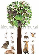 forest friends tree xl groen decoration stickers Kek Amsterdam Muurstickers ms-094