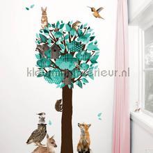 Forest friends tree xl turquoise decoration stickers Kek Amsterdam Sticker top 15