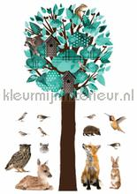 Forest friends tree xl turquoise wallstickers Kek Amsterdam vindue stickers