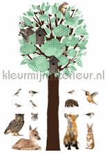 forest friends tree xl lichtgroen decoration stickers Kek Amsterdam Muurstickers ms-113