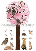 forest friends tree xl lichtrose decoration stickers Kek Amsterdam Muurstickers ms-114