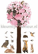 forest friends tree xl lichtrose wallstickers Kek Amsterdam Muurstickers ms-114