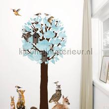 Forest friends xl lichtblauw interieurstickers Kek Amsterdam bloemen natuur