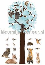Forest friends xl lichtblauw stickers mureaux Kek Amsterdam garçons