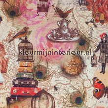Travelling in time COUPON 5.10 mtr gordijnen meisjes