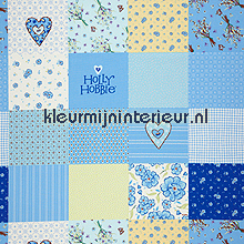 Holly hobbie set beige-blauw gordijnen Lethem en Vergeer behang