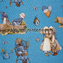 Holly Hobbie patchwork set blauw gordijnen Lethem en Vergeer behang