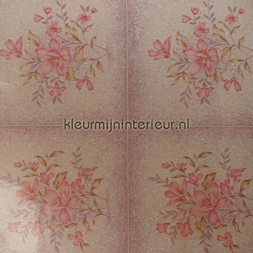 Roze tegels met boeket plakfolie 200-2563 aanbieding plakfolie DC-Fix