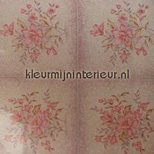 Roze tegels met boeket plakfolie DC-Fix 200-2513