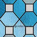 Stevige kwaliteit Glas in lood blauw motieven gekleurd statisch raamfolie statisch