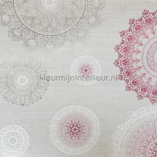 Cirkels grijs fuchsia oilcloth Cirkels roze moderne Kleurmijninterieur