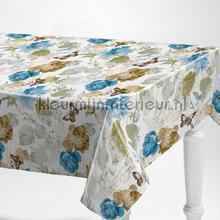 Blauwe bloemen table covering Kleurmijninterieur wood