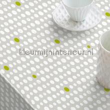 Grijs met witte en groene stippen tafelzeil Kleurmijninterieur modern