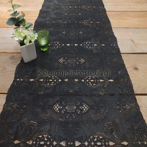 Zwarte kante loper 50 cm oilcloth 624-L0027 Kniplinger - Xmas Gekkofix