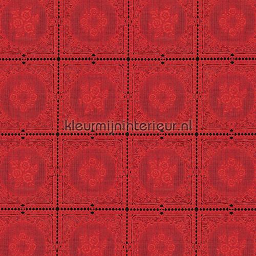 Tafelloper rood oilcloth fl2813 kniplinger Via Chasse