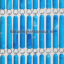 Blauw gevlamd recht fly curtains wood look