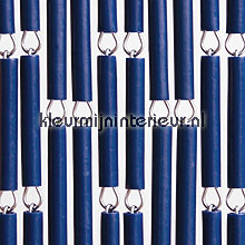 Donkerblauw fly curtains wood look