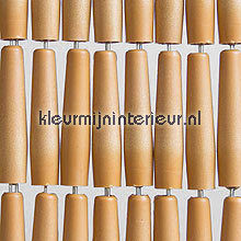 Luxe beige recht fly curtains wood look