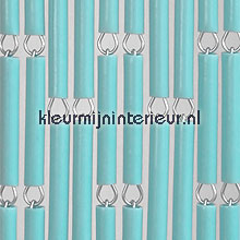 Turquoise fly curtains wood look
